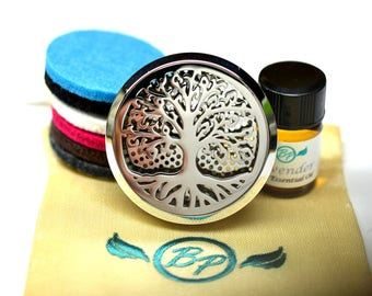 Essential Oil Car Diffuser Accessory // Tree of Life 2 Stainless Steel 38MM // With 6 Thick Wool Diffusers / & Choice of 2ML Essential Oil