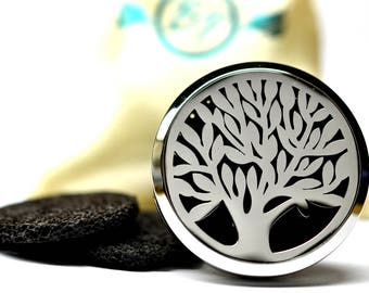 Essential Oil Car Diffuser Accessory // Tree of Life Stainless Steel 38MM // With 3 Lava Stone Diffusers / & Choice of 2ML Essential Oil