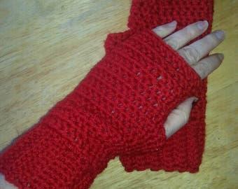Red Fingerless gloves, wool blend, fingerless mittens, driving gloves, driving mittens, texting mittens, typing gloves, typing mittens