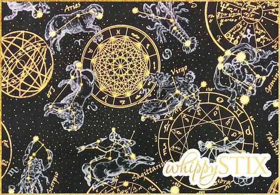 Black gold zodiac horoscope fabric by the yard celestial for Celestial fabric by the yard