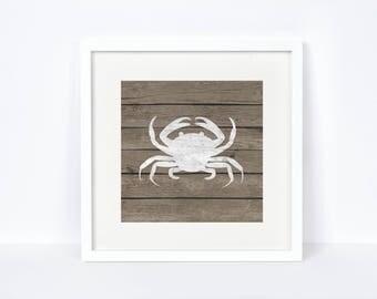 Bathroom Nautical Print - Lake House Wall Decor - Digital Download - Crab Print - Nautical Nursery - Rustic Decor - Bedroom Nautical Art