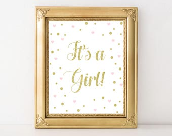 Baby Girl Gold and Pink Its a Girl Party Decor - Printable Art - Baby Shower Print - Baby Shower Decor - Confetti Print - Digital Download