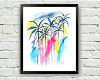 Palm Tree Print, Coastal Art, Palm Tree Wall Art, Coastal Wall Art, Watercolor Print, Palm Print, Art for Bedroom