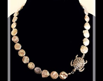 Keshi Pearl Necklace with Turtle Clasp