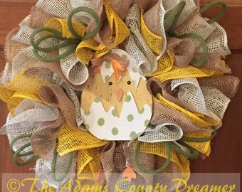 Easter Hatching Chick Themed Poly Burlap Mesh Wreath