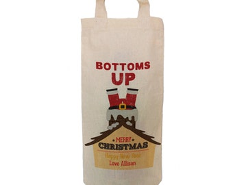 Personalised Santa Christmas wine bottle bag.  Change any of the text. By Inspirecreativedesign