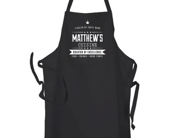 Personalised Black  Chef Kitchen Cuisine Cooking Chef BBq Apron by Inspired Creative Design