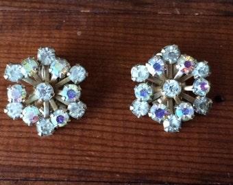 Vintage Starburst/Flower Aurora Borealis (AB) Rhinestone Clip On Earrings set in Gold Finish -1960's - Perfect gift for wedding, birthday