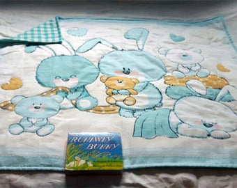 Handcrafted baby quilt - handmade - baby blanket - bunny print - easter - pure cotton - washable cotton quilt - hand-stitched - baby gift