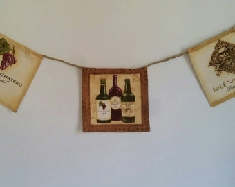 Tuscan Vineyard Small Banner, Vineyard Banner, Wine Banner, Tuscan Garland, Wine Garland, Vineyard Garland, Bunting, Party Decor