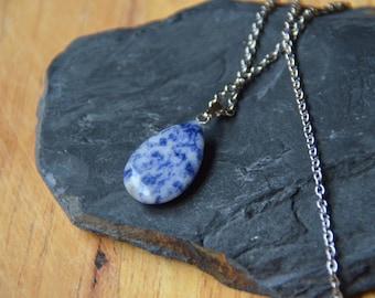 Blue Sea Sediment Jasper Stone Pendant on Stainless Steel Chain