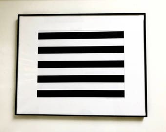 "Framed Matted Print - 11"" X 14"" -  Black Stripes"