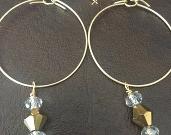 Beaded hoops (gold)