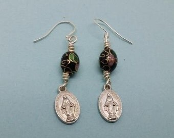 Black Cloisonne Miraculous Medal Earrings