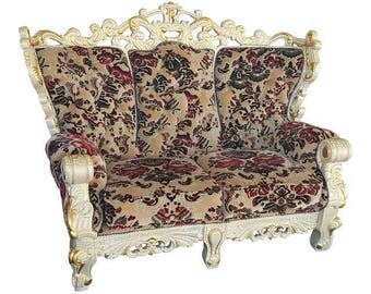 Vintage Victorian Velvet Settee - Detailed Carved Wood Frame Floral Velvet Loveseat / Large Chair - Ready for Customization and Upholstery!