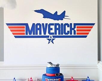 "Top Gun Party ""Maverick"" Cake Table Backdrop, Dessert Party Table Background - DIGITAL DOWNLOAD 36"" x 48"" PDF, Instant Download"