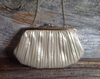 Gold Lamé Ruched Evening Bag Convertible Clutch party wedding bridal special occasion prom Du-Val Hand Made in Hong Kong