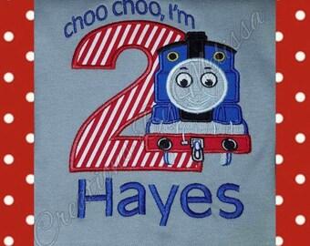Choo Choo I'm Two Birthday Shirt/ Thomas Birthday Shirt/ Train Birthday Shirt/ 2nd Train Birthday/ Thomas Birthday Shirt