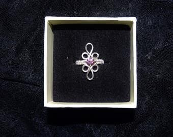 Silver ring with pink crystal. Elegant ring, crystal ring, elven ring.