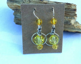 Yellow Bead Dangle Hoop Earrings