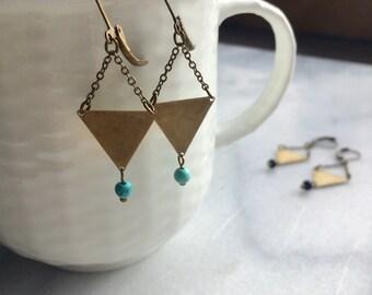 Brass earrings, triangle earrings, geometric earrings, geometric jewelry, brass and turquoise earrings, boho earrings, turquoise howlite