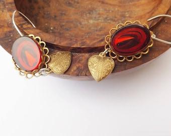 Red glass earrings, vintage earrings, I love you, brass heart earrings, drop earrings, sterling silver, to my love, 1960s vintage