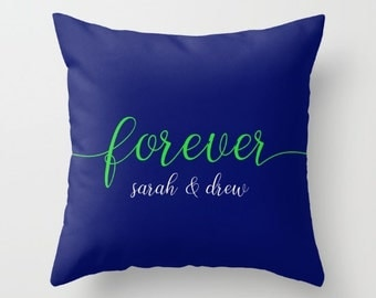 Anniversary Gifts For Women, Couples Decor Pillows for Couch, Personalized Couples Gifts, Custom Pillow Cover 18x18, Blue Throw Pillow