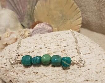 Amazonite necklace; Gemstone necklace; Silver necklace; Hippie; Boho