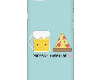 Pizza and Beer Customizable Couple Phone Case (iPhone 5, 6, 6S, 6S Plus /  Samsung Galaxy S4, S5, S6 & S6 Edge) Cute foodie present, gift,