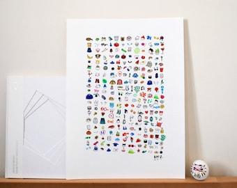 Poster personnalisé A3 fait main & et la demande pour offrir. Composition d'illustrations personnalisée. Encadré ou simple.