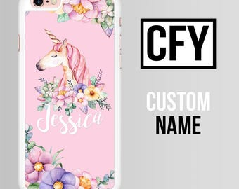Custom Name Phone Case Unicorn iPhone Case iPhone 6 case, iPhone 6 Plus case case, iPhone 5s, 5C case Personalized Name gift Initials Girls