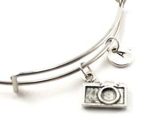 CAMERA bangle, silver camera bracelet, potographer charm, initial bracelet, adjustable bangle, personalized jewelry, gift for her