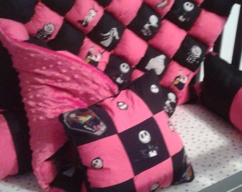 Nightmare Before Christmas Bubble Quilt, Jack Skellington,Baby Bedding, Crib Set,Baby Quilt,Baby Blanket, Baby Crib Bedding