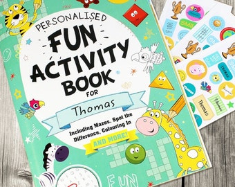 Childrens Personalised Activity Book, Puzzles, Personalised Stickers, Boys Girls
