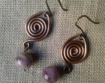 Copper earrings, gemstone Amethyst, gift, jewelry, copper spiral earrings woman
