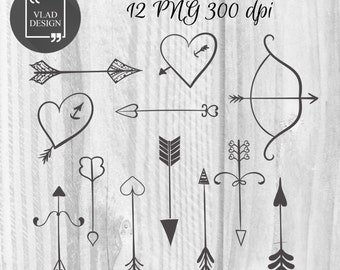 Arrows Clipart Hearts Clipart Digital Love Elements Cute Love graphics Valentine's clipart Romantic wedding Heart with arrow