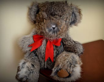 Handmade Brown Rabbit fur Teddy Bear with Red Ribbon