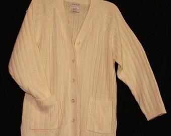 Fine Knit Ivory Sweater by Bobbie Brooks designs -Missy Large