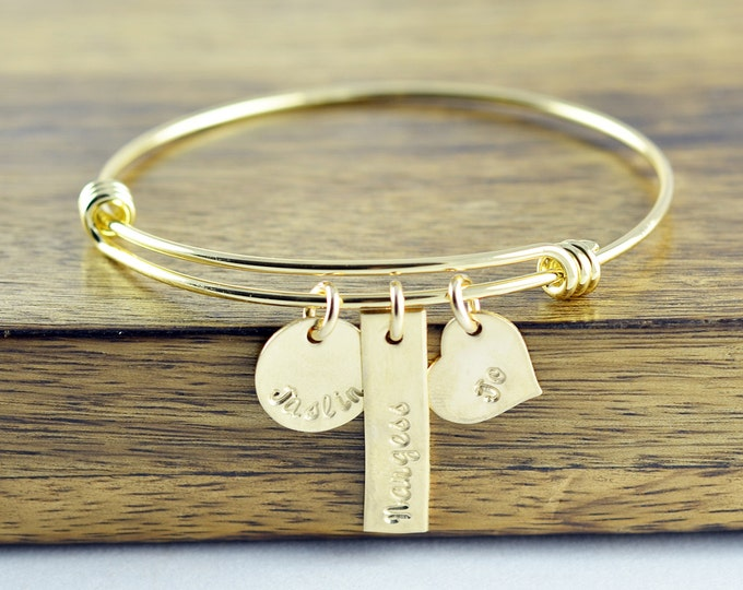 Hand Stamped Bangle Bracelet - Gold Bracelet Bangle - Personalized Bracelet - Gold Bangle Bracelet - Name Bracelet - Mothers Bracelet