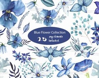 Botanical blue flowers Clipart Wedding flower paint Spring Summer flower paint leaves watercolor clipart anemone clipart orchid clipart
