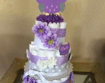 Owl Themed Diaper Cake/Baby Shower/Mother-to-Be Gift/Baby Girl Shower/Purple & Grey Owl/It's A Girl