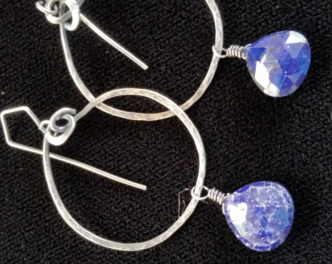 Deep Blue Sap[hire and Sterling Silver Earring