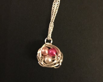 Wire wrap nest necklace