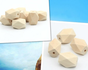 50pieces Oblong Unfinished 14 Hedron Geometric 16x12mm Natural Wood Beads accessories