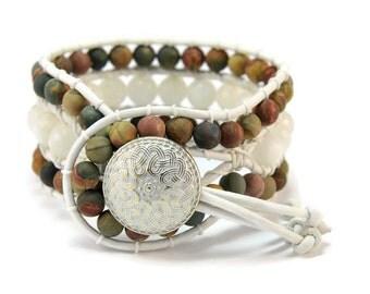 Boho Neutral *  Jasper & Moonstone. 3 strand Wrap Bracelet. Boho Style. Bohemian Jewelry. Semiprecious stones. Gift for her. Cuff Bracelet.