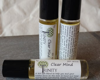Clear Mind // Kid Safe Ready to use Essential Oil Roller Bottle // Focus // Wellness // Concentrate // Complete Tasks // All Natural