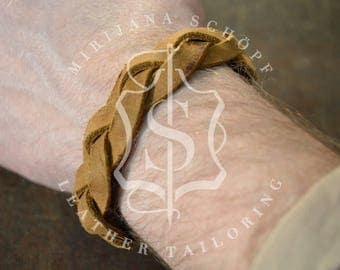 Geflochtenes Lederarmband original Leder aus 30er Jahre Tasche Upcycling Unikat