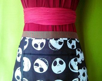 Jack Skellington utility apron / Christmas apron / Waitress apron / Zipper apron / Vendor apron / Halloween apron / Christmas apron