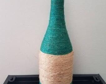 Wrapped wine bottle