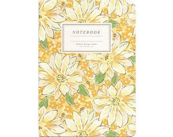 honeybees in a flower garden notebook, handmade thread binding notebook, journal, diary, travel notebook, lined notebook, blank notebook
